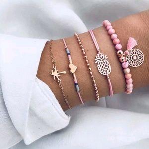 charm Tassel bracelets gold pineapple heart beads